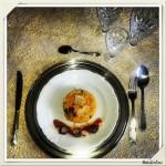 Risotto alla milanese my style con chorizo, grana croccante e pomodorini dolci